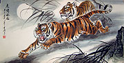 Chinese tiger paintings - Fierce Tigers