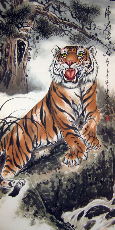 Chinese tiger paintings - Howl of Tiger