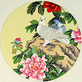 Chinese bird paintings - Pigeon and Peony