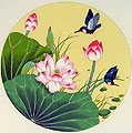 Chinese bird paintings - Kingfisher and Lotus