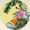Chinese bird paintings - Birds, Chrysanthemum and Babana Leaf