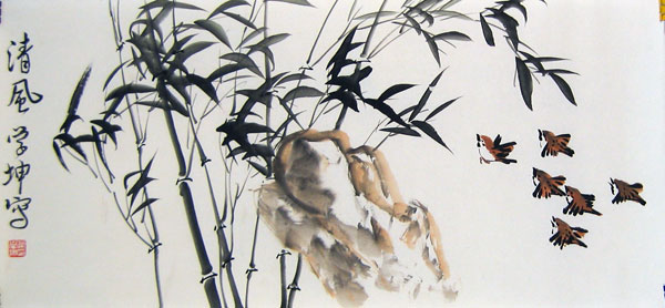 Bamboo and Birds - Chinese bamboo painting