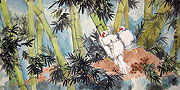 Chinese bird paintings - Two Birds in Bamboo Forest