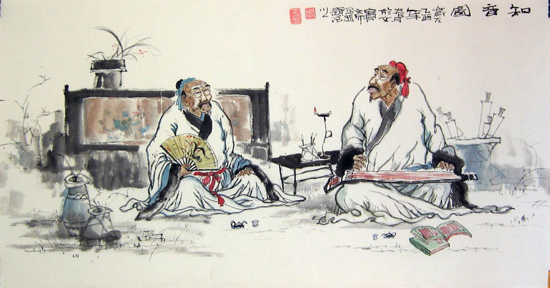 Chinese people paintings - Bosom Friends Playing Chinese Zheng