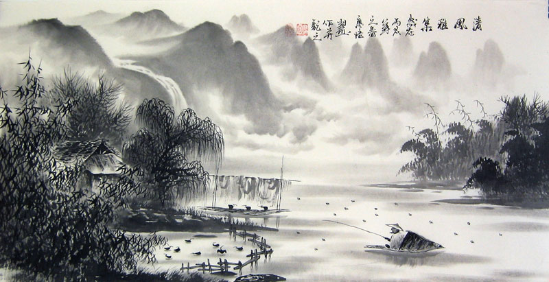 Chinese landscape paintings - the Fishman