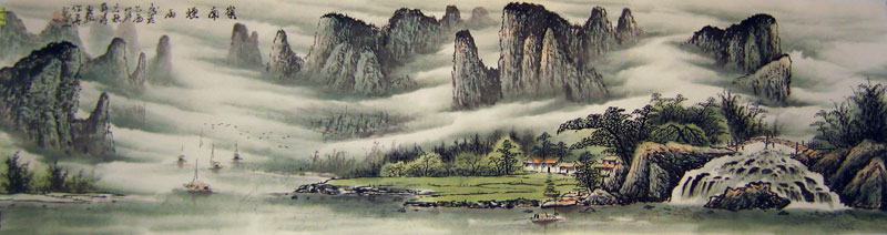 Chinese landscape paintings - Village by the River