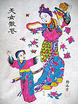 Chinese new year paintings - Yangjiabu - Celestial Beauty Scattering Flowers