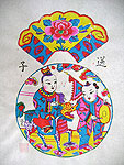 Chinese new year paintings - Yangjiabu - The Kylin Carrying a Son to the Mother (2)