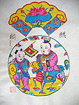 Chinese new year paintings - Yangjiabu - The Kylin Carrying a Son to the Mother (1)