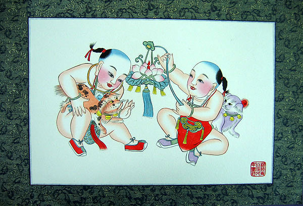 Chinese new year paintings - Yangliuqing - Lotus Lantern and Poodle