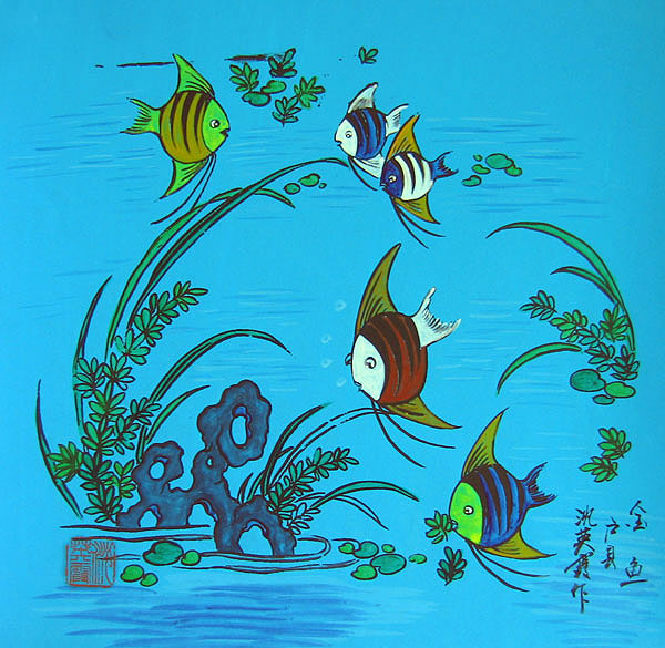 Chinese folk art paintings - Fish
