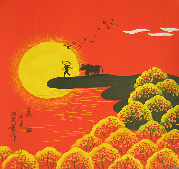 Chinese folk art paintings - Mountain in Morning