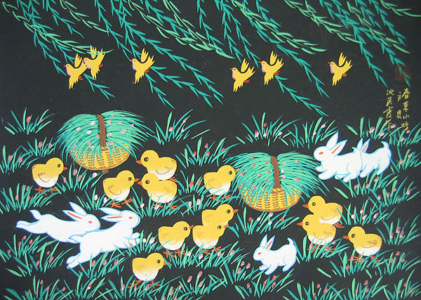 Chinese folk art paintings - Bunnies and  Chickabiddies