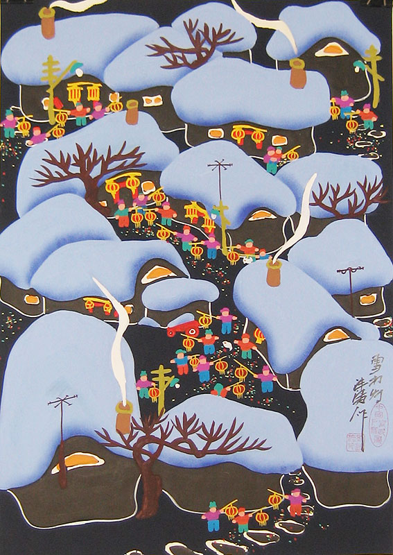 Chinese folk art paintings - Snowing in new year