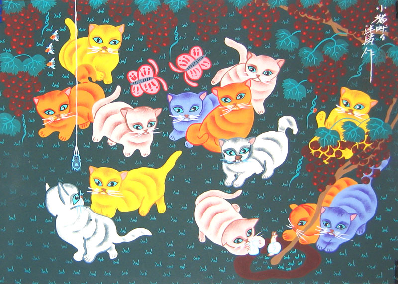Chinese folk art paintings - Cats