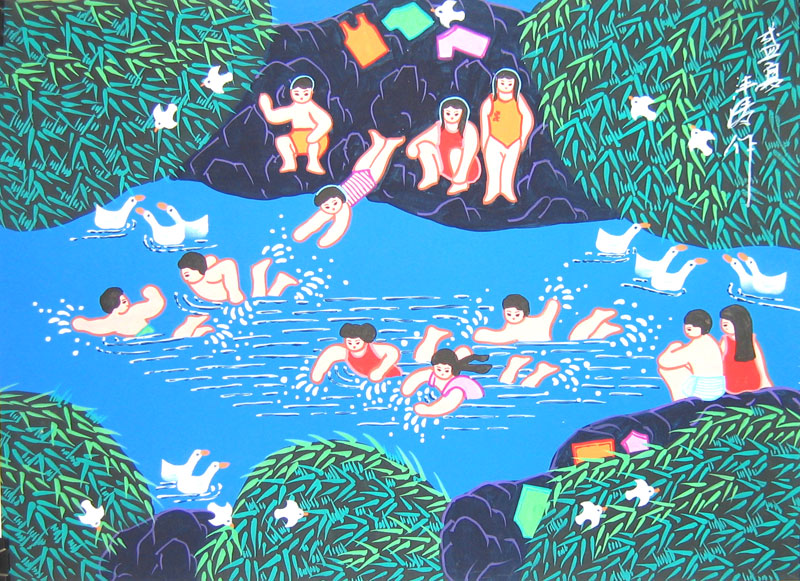 Chinese folk art paintings - Summer Game